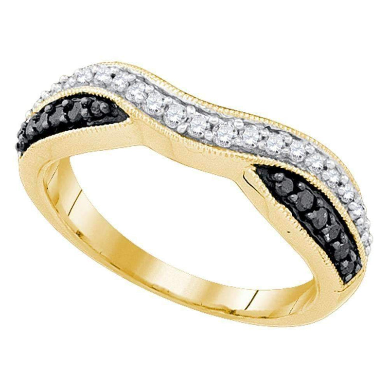 10k Gold Black Round Pave-set Diamond Women's Anniversary Ring - FREE Shipping (US/CA)-Gold & Diamond Bands-5-JadeMoghul Inc.