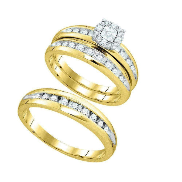 10k Gold Round Diamond Cluster His & Hers Matching Halo Trio Wedding Ring Set-Gold & Diamond Trio Sets-5-JadeMoghul Inc.