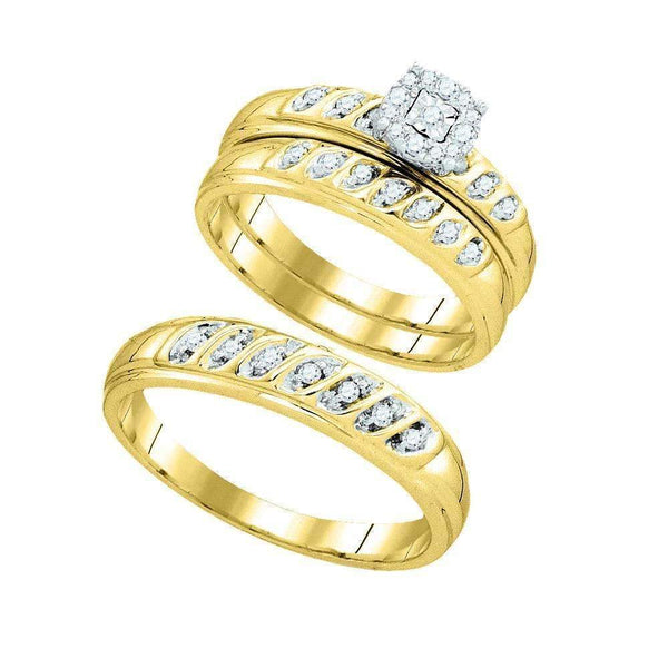 10k Gold Round Diamond Matching Trio His & Hers Wedding Ring Set-Gold & Diamond Trio Sets-7-JadeMoghul Inc.