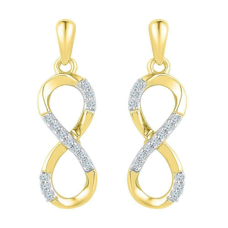 10k Gold Women's Round Diamond Infinity Dangle Screwback Earrings - FREE Shipping (US/CA)-Gold & Diamond Earrings-JadeMoghul Inc.
