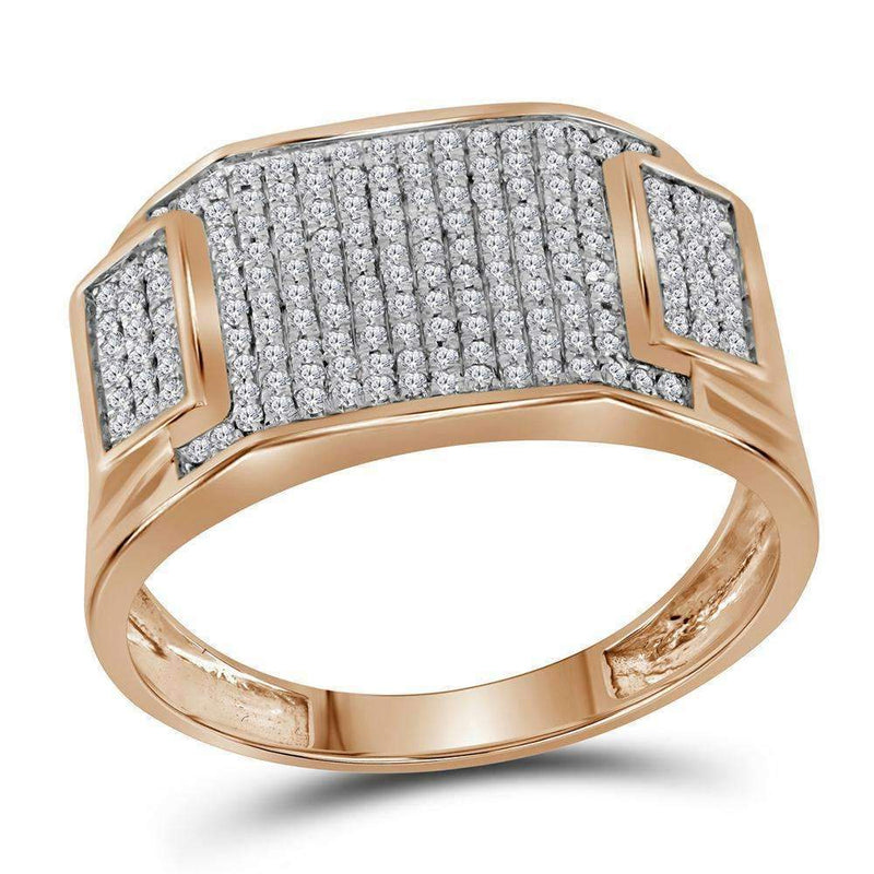 10k Rose Gold Men's Round Diamond Rectangle Cluster Ring-Gold & Diamond Men Rings-9.5-JadeMoghul Inc.