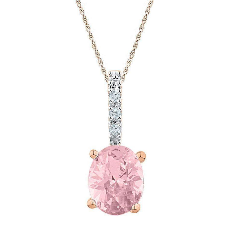 10k Rose Gold Women's Oval Lab-Created Morganite Solitaire Pendant-Gold & Diamond Pendants & Necklaces-JadeMoghul Inc.