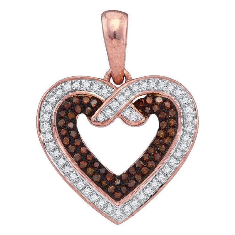 10k Rose Gold Women's Red Diamond Heart Pendant - FREE Shipping (US/CA)-Gold & Diamond Pendants & Necklaces-JadeMoghul Inc.