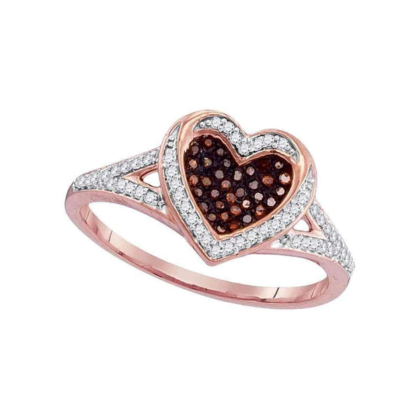 10k Rose Gold Women's Red Diamond Heart Ring-Gold & Diamond Heart Rings-11-JadeMoghul Inc.