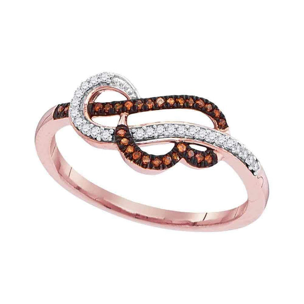 10k Rose Gold Women's Red Diamond Heart Strand Ring - FREE Shipping (US/CA)-Gold & Diamond Heart Rings-5-JadeMoghul Inc.