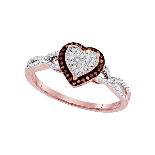10k Rose Gold Women's Red Diamond Heart Twist Cluster Ring - FREE Shipping (US/CA)-Gold & Diamond Heart Rings-5-JadeMoghul Inc.