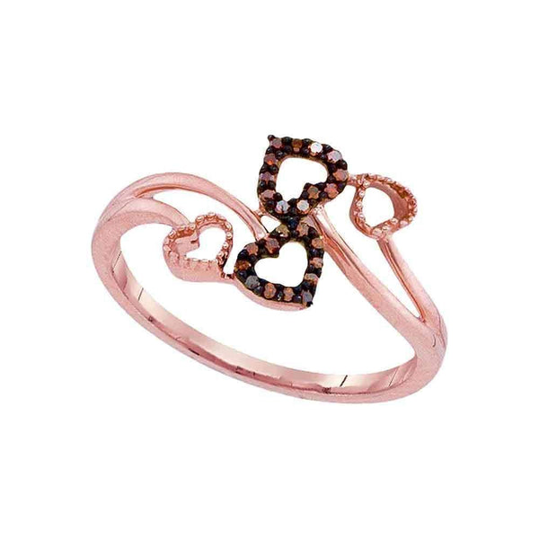 10k Rose Gold Women's Red Diamond Hearts Bypass Ring - FREE Shipping (US/CA)-Gold & Diamond Heart Rings-5-JadeMoghul Inc.