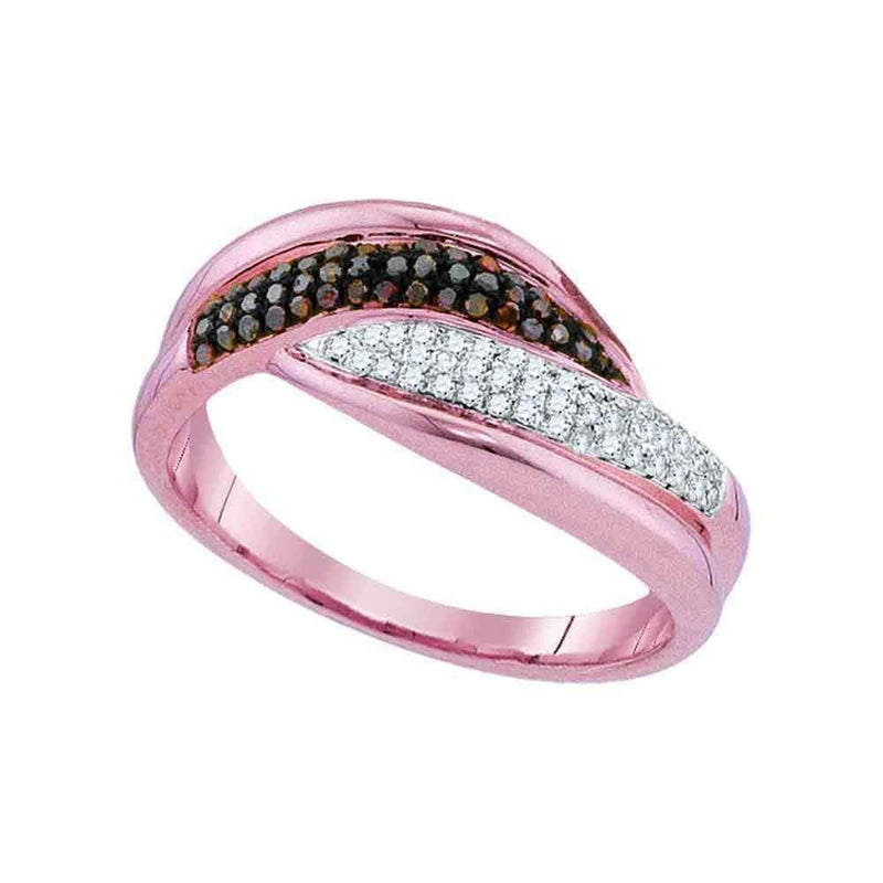 10k Rose Gold Women's Red Diamond Ring - FREE Shipping (US/CA)-Gold & Diamond Bands-5-JadeMoghul Inc.