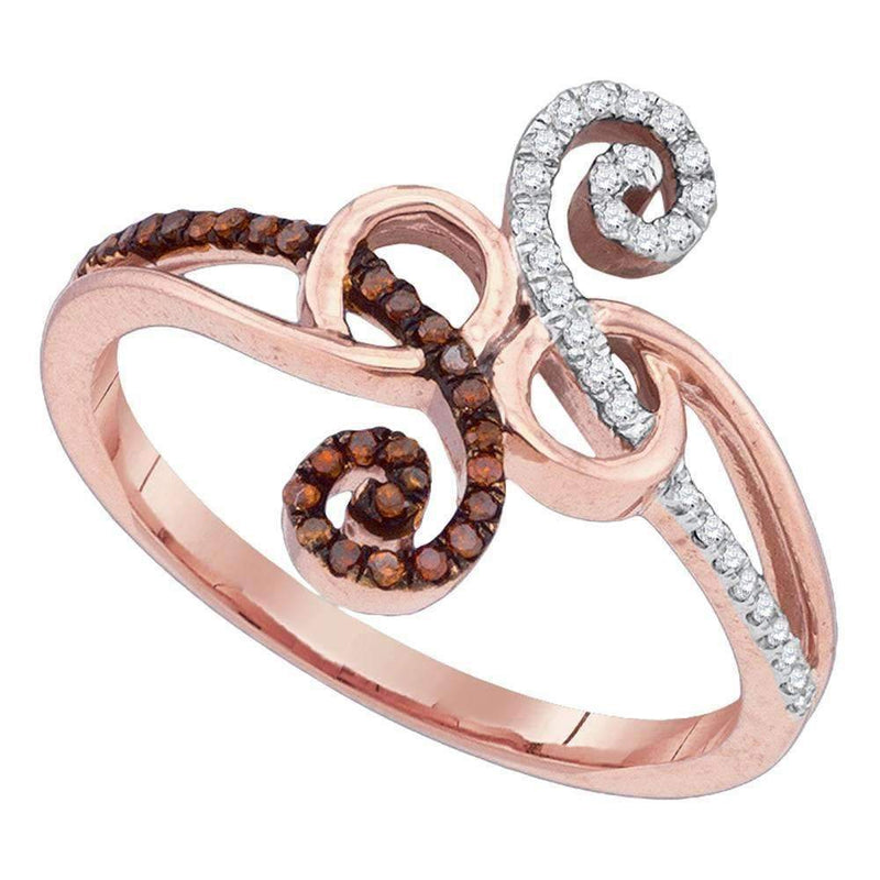 10k Rose Gold Women's Red Diamond Ring - FREE Shipping (US/CA)-Gold & Diamond Fashion Rings-5-JadeMoghul Inc.