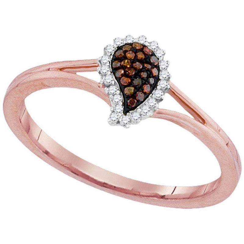 10k Rose Gold Women's Red Diamond Teardrop Cluster Ring - FREE Shipping (US/CA)-Gold & Diamond Fashion Rings-5-JadeMoghul Inc.