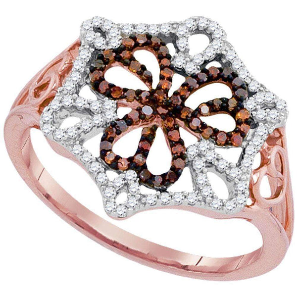 10k Rose Gold Women's Red Diamond Triple Heart Cluster Ring - FREE Shipping (US/CA)-Gold & Diamond Heart Rings-5-JadeMoghul Inc.