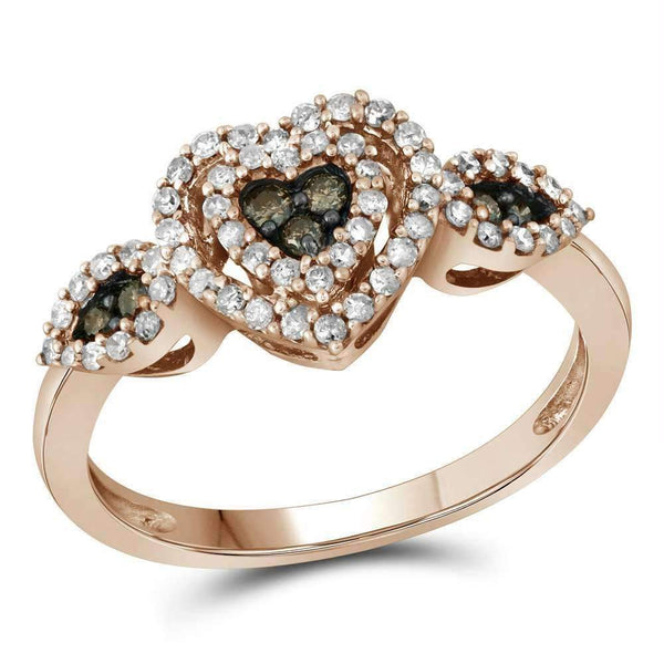 10k Rose Gold Women's Round Brown Diamond Heart Cluster Ring - FREE Shipping (US/CA)-Gold & Diamond Heart Rings-6.5-JadeMoghul Inc.