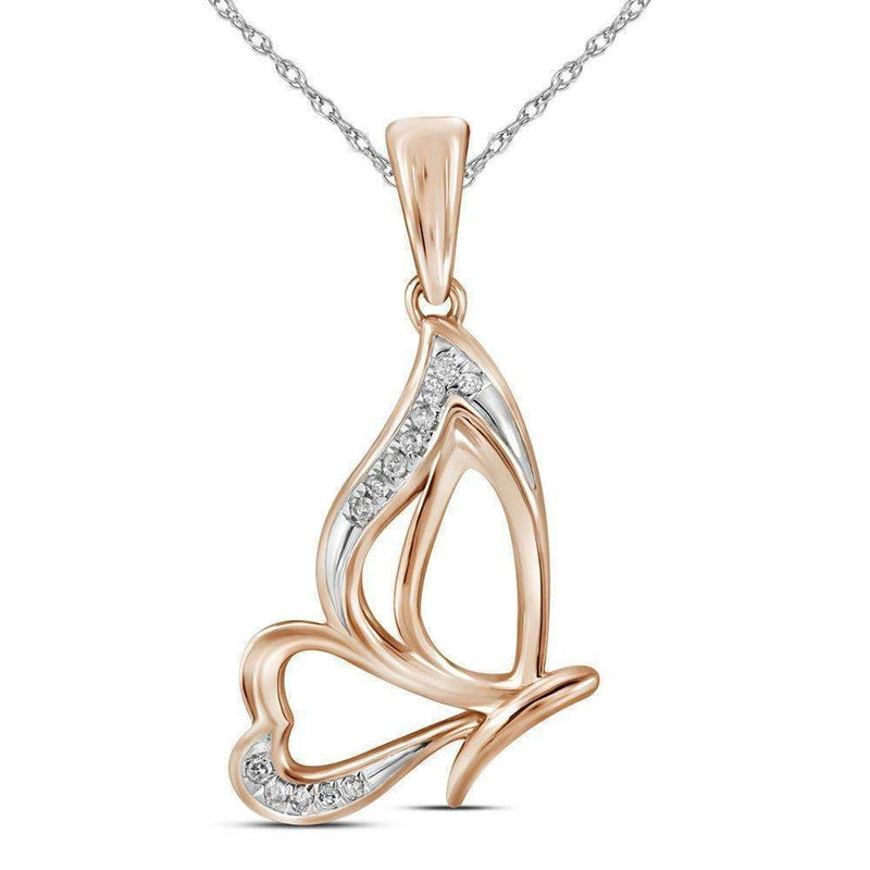 10k Rose Gold Women's Round Diamond Butterfly Pendant - FREE Shipping (US/CA)-Pendants And Necklaces-JadeMoghul Inc.