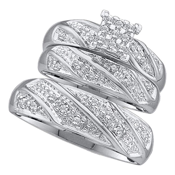 10k White Gold & Diamond Couple's Matching Wedding Ring Set-Gold & Diamond Trio Sets-6.5-JadeMoghul Inc.