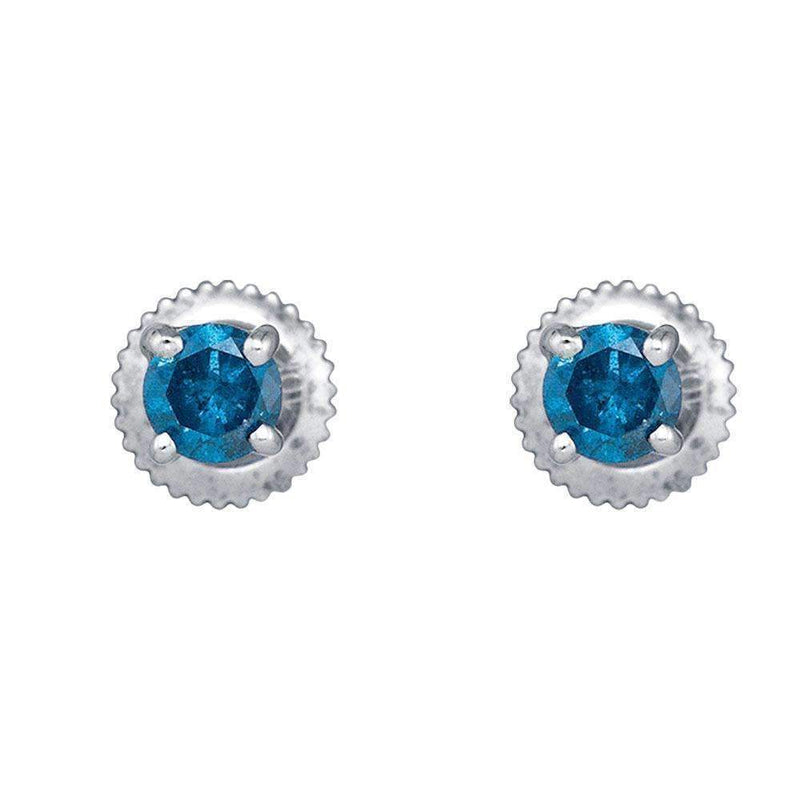 10k White Gold Women's Blue Round Diamond Solitaire Screwback Stud Earrings - FREE Shipping (US/CA)-Gold & Diamond Earrings-JadeMoghul Inc.