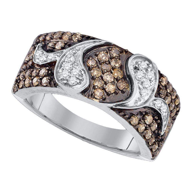 10k White Gold Women's Cognac-brown Diamond Cocktail Ring - FREE Shipping (US/CA)-Gold & Diamond Bands-6-JadeMoghul Inc.