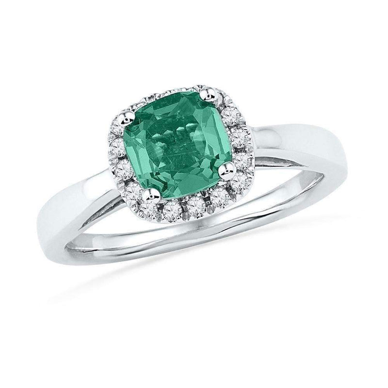 10k White Gold Women's Lab-Created Emerald & Diamond Ring - FREE Shipping (US/CA)-Gold & Diamond Fashion Rings-5-JadeMoghul Inc.