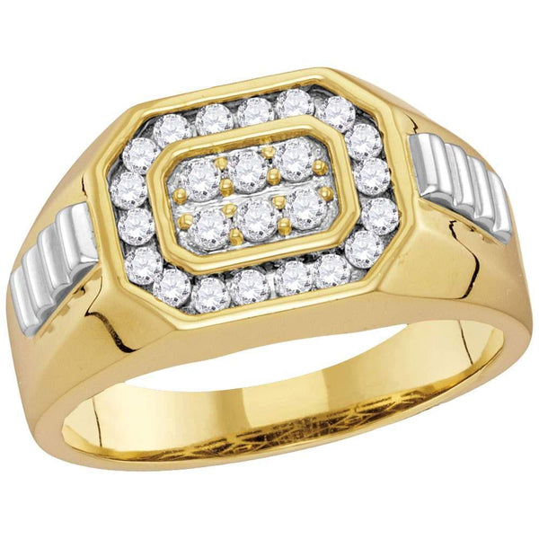 10kt Two-tone Gold Mens Diamond Octagon Ribbed Cluster Ring 1/2 Cttw-Gold & Diamond Men Rings-JadeMoghul Inc.