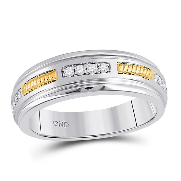 10kt Two-tone Gold Mens Diamond Wedding Band Ring 1/5 Cttw-Gold & Diamond Men Rings-JadeMoghul Inc.