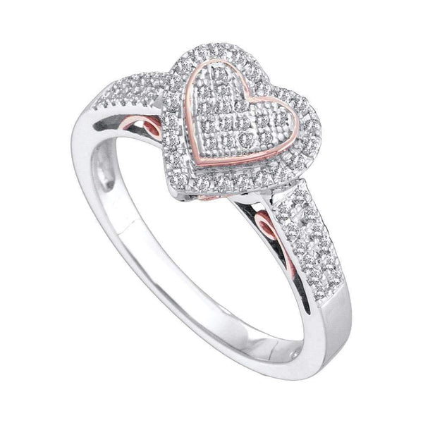 10kt Two-tone White Rose Gold Women's Round Diamond Heart Ring 1/3 Cttw - FREE Shipping (US/CAN)-Gold & Diamond Heart Rings-5.5-JadeMoghul Inc.