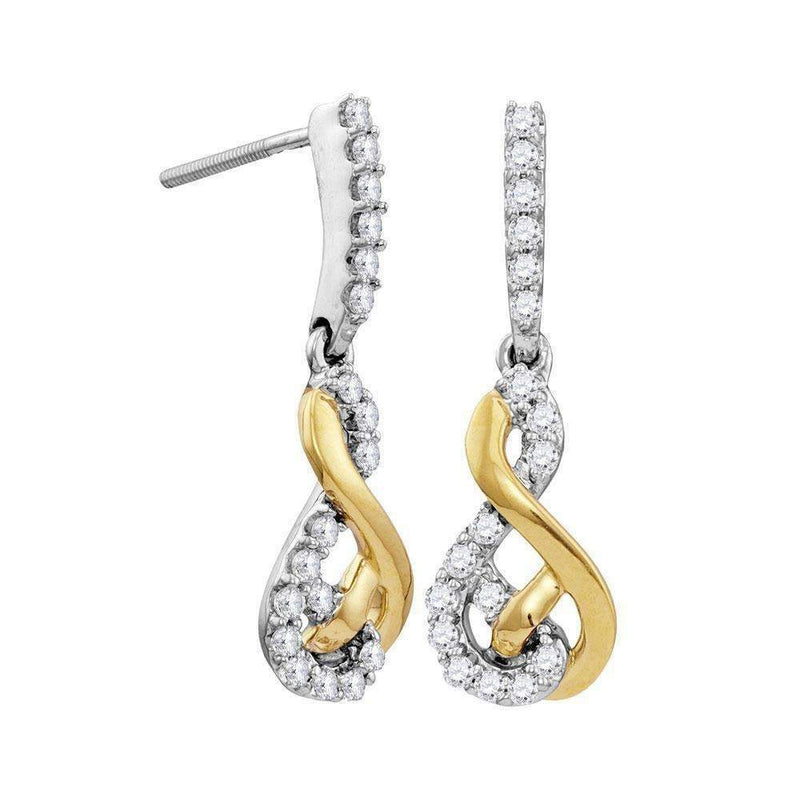 10kt Two-tone White Yellow Gold Women's Round Diamond Dangle Earrings 1-2 Cttw - FREE Shipping (US/CAN)-Gold & Diamond Earrings-JadeMoghul Inc.
