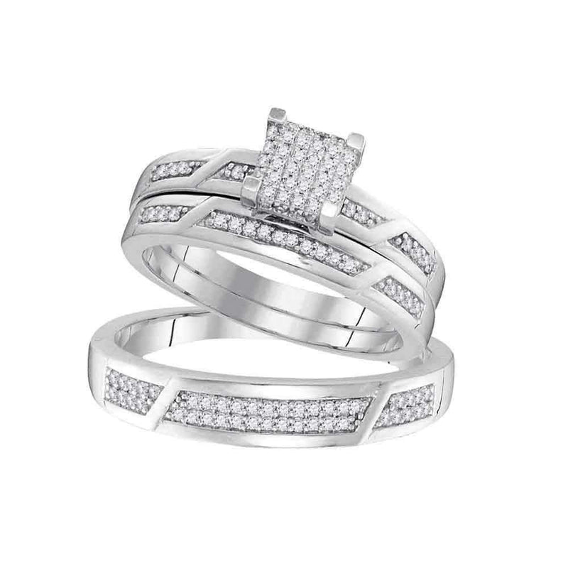 10kt White Gold His & Hers Round Diamond Cluster Matching Bridal Wedding Ring Band Set 1/3 Cttw - FREE Shipping (US/CAN)-Gold & Diamond Trio Sets-5-JadeMoghul Inc.