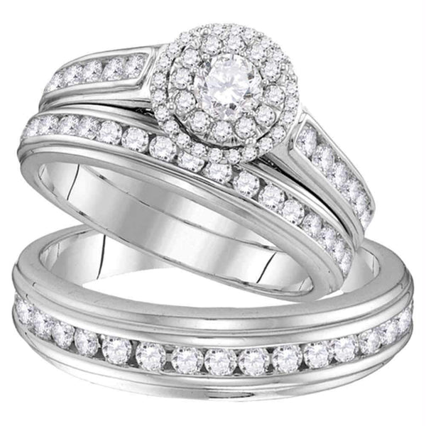 10kt White Gold His & Hers Round Diamond Solitaire Matching Bridal Wedding Ring Band Set 1-5/8 Cttw - FREE Shipping (US/CAN)-Gold & Diamond Trio Sets-5.5-JadeMoghul Inc.