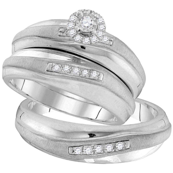 10kt White Gold His & Hers Round Diamond Solitaire Matching Bridal Wedding Ring Band Set 1/5 Cttw-Gold & Diamond Trio Sets-7-JadeMoghul Inc.