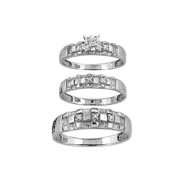 10kt White Gold His & Hers Round Diamond Solitaire Matching Bridal Wedding Ring Band Set 1/8 Cttw - FREE Shipping (US/CAN)-Gold & Diamond Trio Sets-5-JadeMoghul Inc.