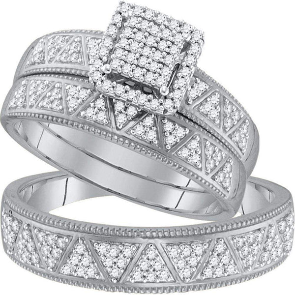 10kt White Gold His & Hers Round Diamond Square Cluster Matching Bridal Wedding Ring Band Set 1/2 Cttw - FREE Shipping (US/CAN)-Gold & Diamond Trio Sets-5-JadeMoghul Inc.