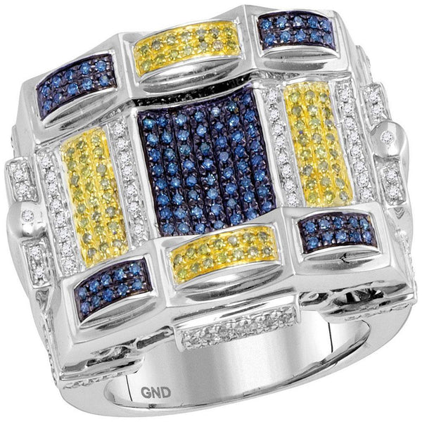 10kt White Gold Mens Blue Yellow Color Enhanced Diamond Checkered Cluster Ring 7/8 Cttw-Gold & Diamond Men Rings-JadeMoghul Inc.