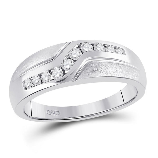 10kt White Gold Mens Diamond Curved Single Row Matte Band Ring 1/3 Cttw-Gold & Diamond Men Rings-JadeMoghul Inc.