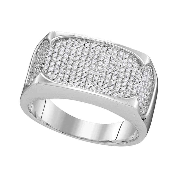 10kt White Gold Men's Round Diamond Rectangle Flat Cluster Ring 1/2 Cttw - FREE Shipping (US/CAN)-Gold & Diamond Men Rings-8-JadeMoghul Inc.