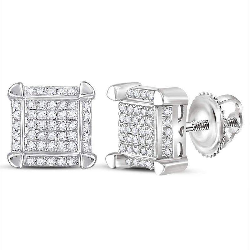 10kt White Gold Mens Round Diamond Square Cluster Stud Earrings 1-6 Cttw - FREE Shipping (US/CAN)-Gold & Diamond Men Earrings-JadeMoghul Inc.