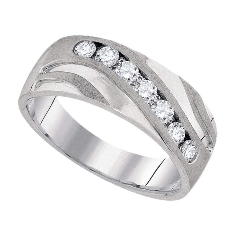 10kt White Gold Men's Round Diamond Wedding Band Ring 1/2 Cttw - FREE Shipping (US/CAN)-Gold & Diamond Wedding Jewelry-13-JadeMoghul Inc.