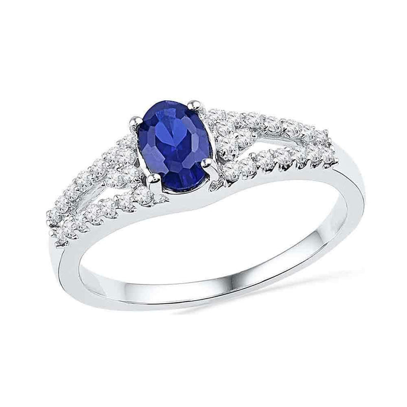 10kt White Gold Women's Oval Lab-Created Blue Sapphire Solitaire Diamond Ring 1.00 Cttw - FREE Shipping (US/CAN)-Gold & Diamond Fashion Rings-5-JadeMoghul Inc.