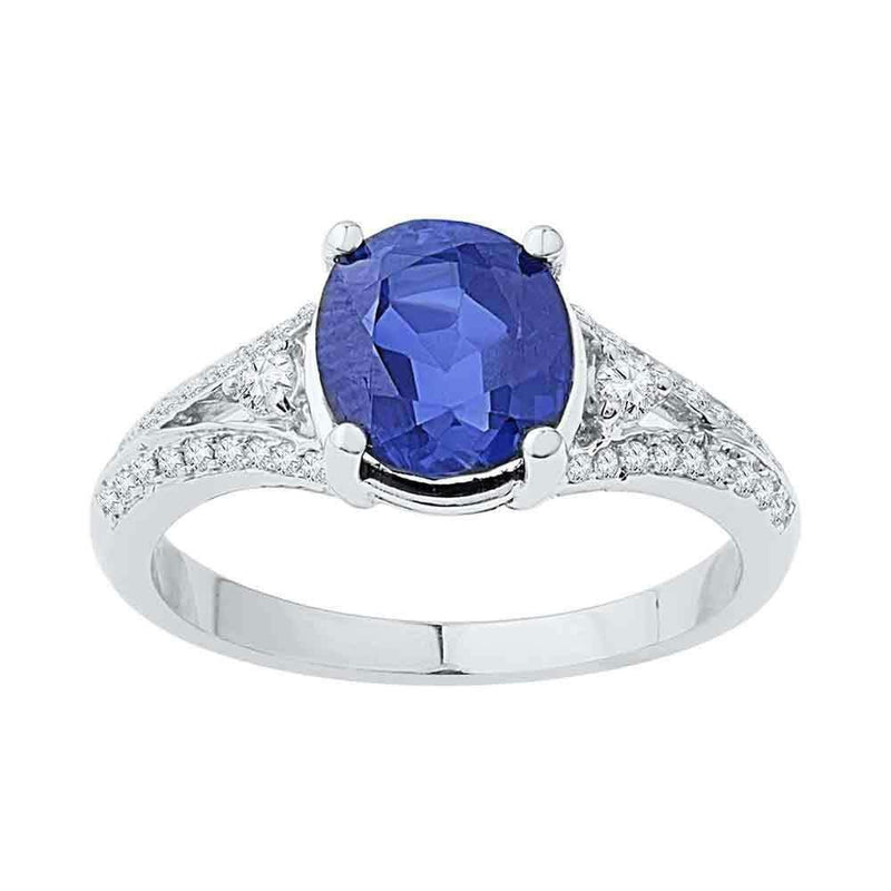 10kt White Gold Women's Oval Lab-Created Blue Sapphire Solitaire Diamond Ring 2-1/2 Cttw - FREE Shipping (US/CAN)-Gold & Diamond Fashion Rings-5-JadeMoghul Inc.