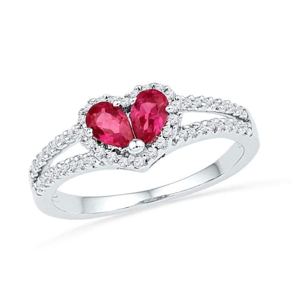 10kt White Gold Women's Pear Lab-Created Ruby Heart Split-shank Ring 3/4 Cttw - FREE Shipping (US/CAN)-Gold & Diamond Heart Rings-5-JadeMoghul Inc.
