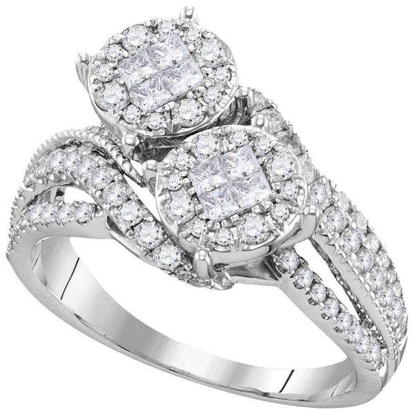 10kt White Gold Womens Princess Diamond Cluster Bridal Wedding Engagement Ring 1.00 Cttw-Gold & Diamond Engagement & Anniversary Rings-JadeMoghul Inc.