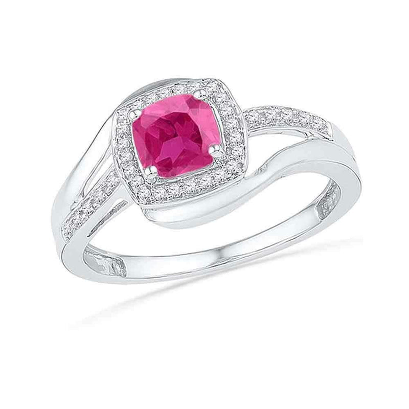 10kt White Gold Women's Princess Lab-Created Pink Sapphire Solitaire Ring 1-1/10 Cttw - FREE Shipping (US/CAN)-Gold & Diamond Fashion Rings-5-JadeMoghul Inc.