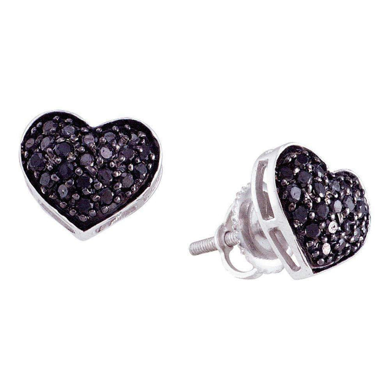 10kt White Gold Women's Round Black Color Enhanced Diamond Heart Cluster Earrings 3-8 Cttw - FREE Shipping (US/CAN)-Gold & Diamond Earrings-JadeMoghul Inc.