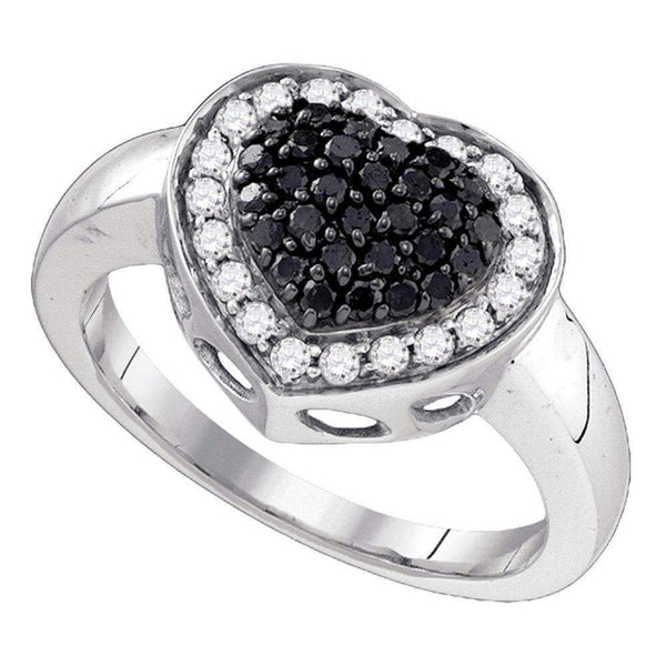10kt White Gold Women's Round Black Color Enhanced Diamond Heart Cluster Ring 1/2 Cttw - FREE Shipping (US/CAN)-Gold & Diamond Heart Rings-5-JadeMoghul Inc.