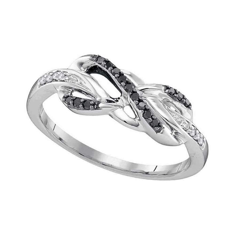 10kt White Gold Women's Round Black Color Enhanced Diamond Infinity Ring 1-10 Cttw - FREE Shipping (US/CAN)-Gold & Diamond Rings-JadeMoghul Inc.
