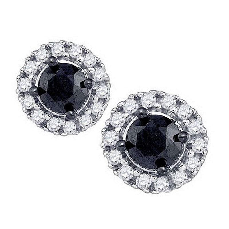 10kt White Gold Women's Round Black Color Enhanced Diamond Solitaire Circle Frame Earrings 1.00 Cttw - FREE Shipping (US/CAN)-Gold & Diamond Earrings-JadeMoghul Inc.