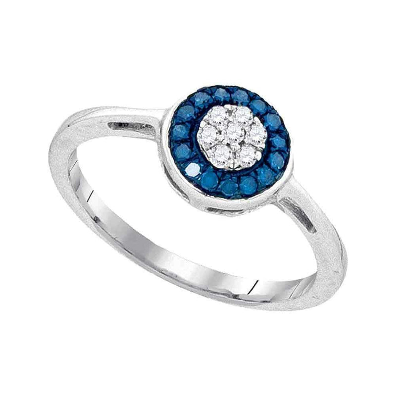 10kt White Gold Womens Round Blue Color Enhanced Diamond Cluster Ring 1/5 Cttw-Gold & Diamond Cluster Rings-6.5-JadeMoghul Inc.