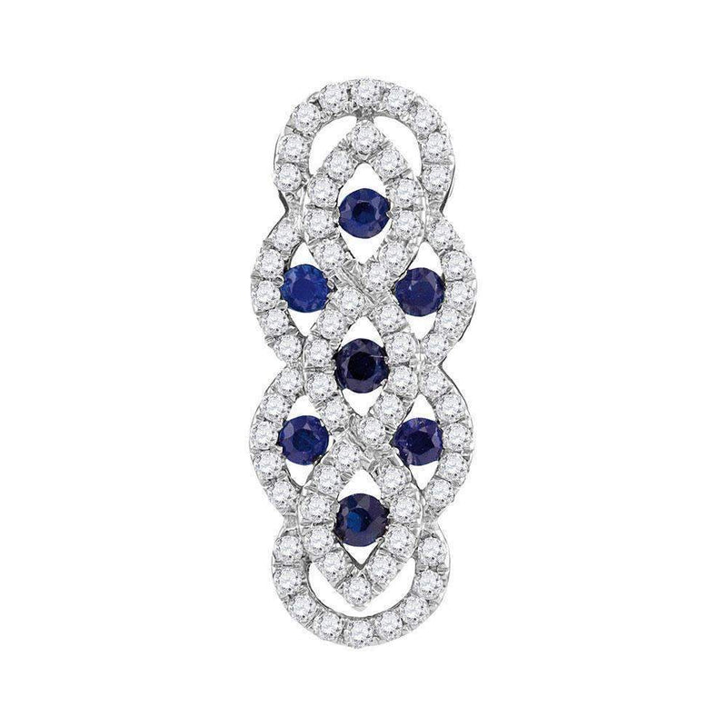 10kt White Gold Women's Round Blue Sapphire Diamond Vertical Woven Fashion Pendant 1-2 Cttw - FREE Shipping (US/CAN)-Gold & Diamond Pendants & Necklaces-JadeMoghul Inc.