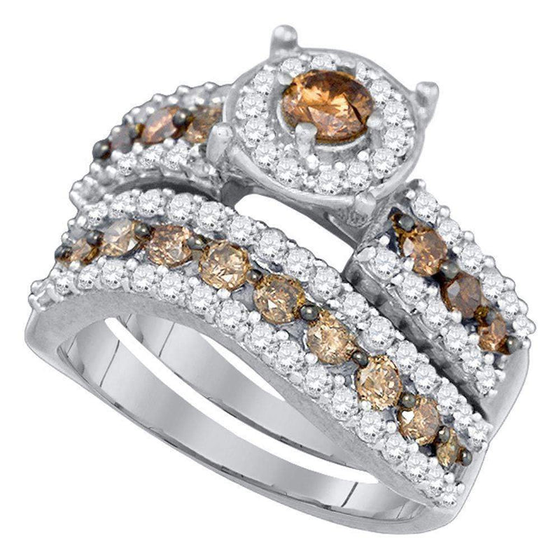 10kt White Gold Women's Round Cognac-brown Color Enhanced Diamond Bridal Wedding Engagement Ring Band Set 1-3/4 Cttw - FREE Shipping (US/CAN)-Gold & Diamond Wedding Ring Sets-6-JadeMoghul Inc.