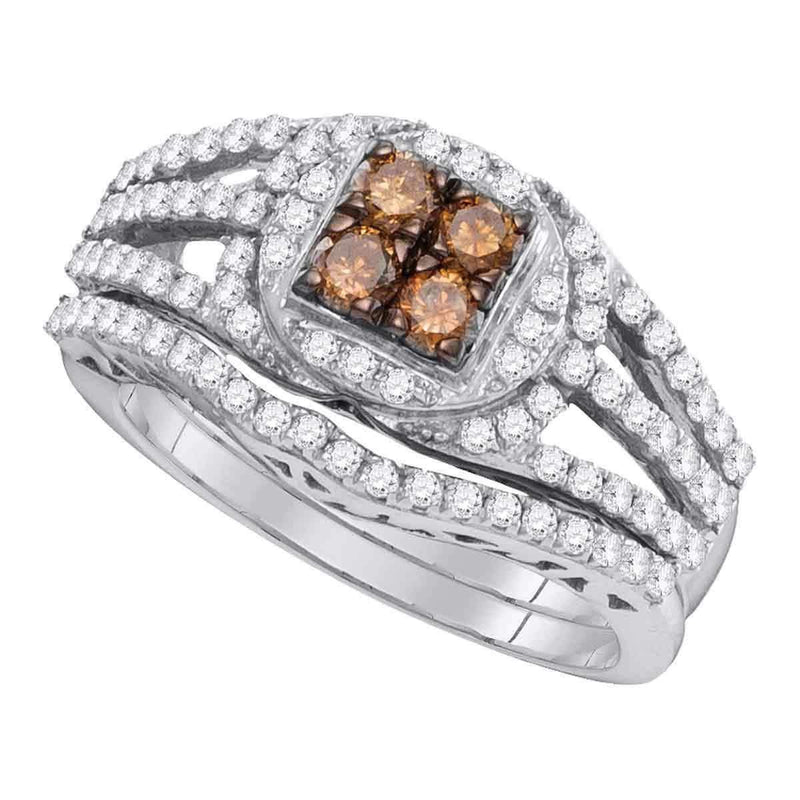 10kt White Gold Women's Round Cognac-brown Color Enhanced Diamond Bridal Wedding Engagement Ring Band Set 1 Cttw - FREE Shipping (US/CAN)-Gold & Diamond Wedding Ring Sets-5-JadeMoghul Inc.