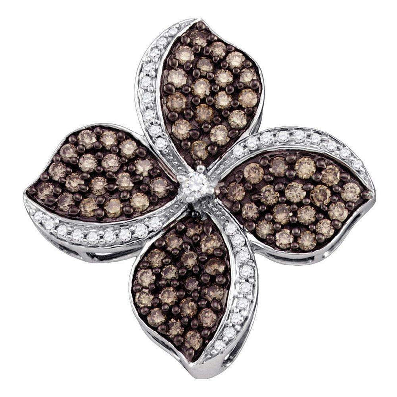 10kt White Gold Women's Round Cognac-brown Color Enhanced Diamond Flower Cluster Pendant 1.00 Cttw - FREE Shipping (US/CAN)-Gold & Diamond Pendants & Necklaces-JadeMoghul Inc.