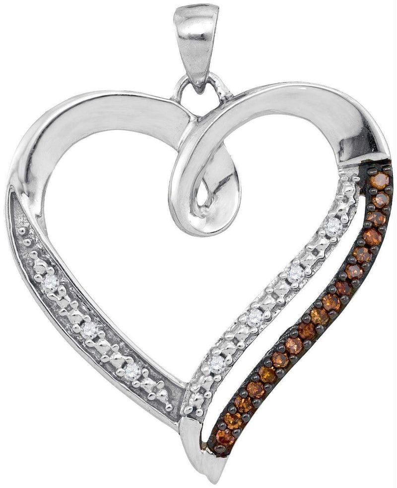 10kt White Gold Women's Round Cognac-brown Color Enhanced Diamond Heart Love Pendant 1-6 Cttw - FREE Shipping (US/CAN)-Gold & Diamond Pendants & Necklaces-JadeMoghul Inc.